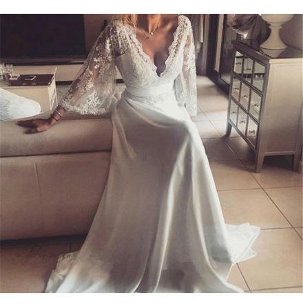 A16 Bohemisk spetsklänning med härliga ärmar