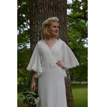 Bohemisk brudklänning i spets och chiffong