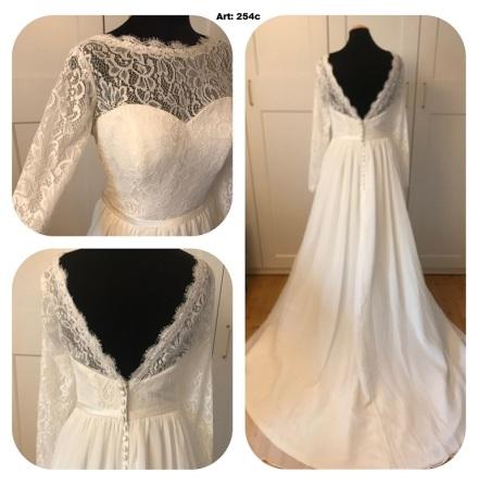 Brudklänning i bohemisk spets med ärm och chiffongkjol