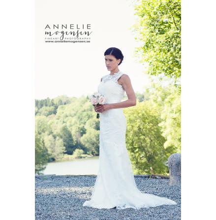 545 Brudklänning sjöjungfru med täckt spetsrygg