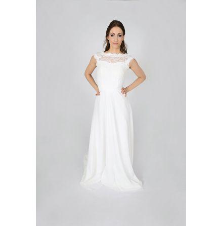250w Brudklänning med spets och chiffong med midjeband