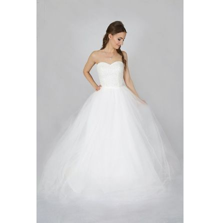 T11 Brudklänning full av pärlor på toppen och stor tyllkjol