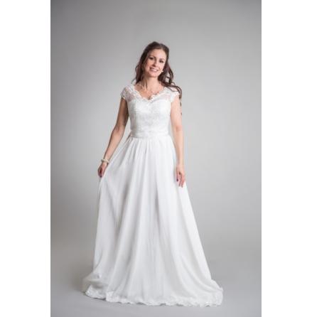 920C Brudklänning med spetstopp och chiffongkjol